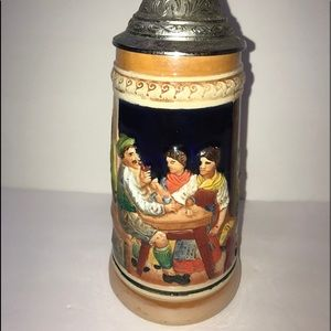Vintage WC German Beer Stein w/ Pewter Lid - 9""